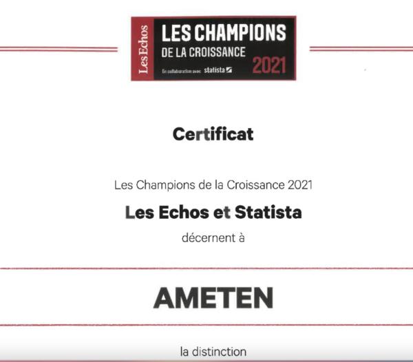 AMÉTEN dans le palmarès des Champions de la Croissance 2021 !